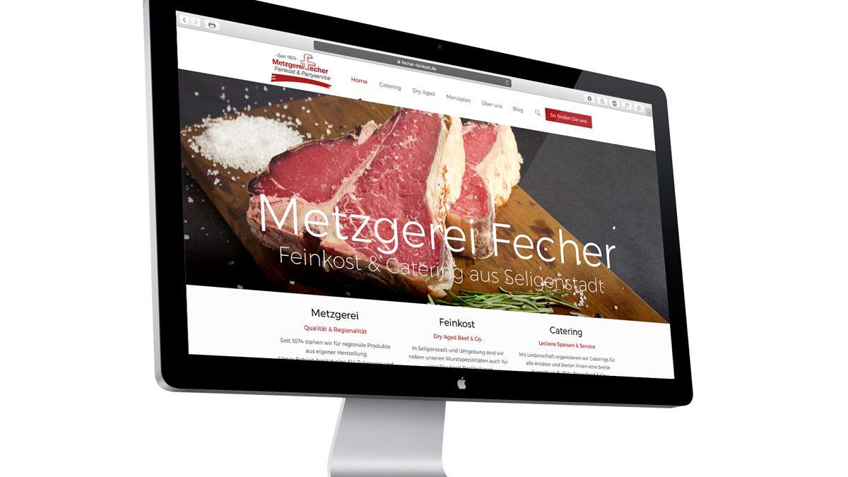 Neue Webseite der Metzgerei Fecher. Bild von einem MacBook Pro.